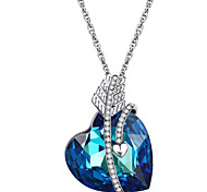 Women's Pendant Necklaces Crystal Heart Chrome Love Dark Blue Jewelry For Graduation Thank You Gift 1pc