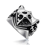 Titanium Steel Ten Word Flower Pattern Shield Fashion Ring Men SA351