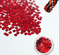 1 Bottle Fashion Charming Red Nail Laser Glitter Stripe Round Paillette Beautiful Nail Glitter DIY Beauty Decoration Nail Shiny Clear Thin Slice TW13