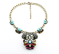 Women's Collar Necklace Flower Chrome Vintage Jewelry For Gift Valentine
