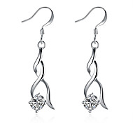 Concise Silver Plated Clear Crystal calabash Style Waterdrop Dangle Earrings for Party Women Jewelry Accessiories