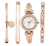Luxury Ladies Watch Dress Watch Fashion women Watch Wristwatches Bracelet Watch Set Quartz Imitation Diamond Bohemian Charm Bangle(4pcs/set)