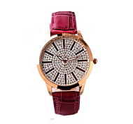 Women's Fashion Watch Water Resistant / Water Proof Imitation Diamond Japanese Quartz Genuine Leather Band Cool CasualBlack White Red