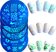 1шт горячей продажи моды милый мультфильм дизайн ногтей из нержавеющей стали штамповки пластины красивый маникюр трафареты ногтей поделки
