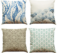 Set of 4  Blue Wave Ocean Geometry Pattern  Linen Pillowcase Sofa Home Decor Cushion Cover