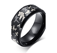 Ring Fashion Steel Round Black Jewelry For Daily 1pc