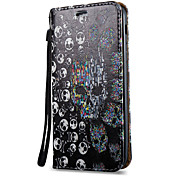 For Samsung Galaxy A7 A5 A3(2017) Case Cover Skeleton Pattern 3D Painted Relief Super Strong Magnetic Adsorption PU Material Phone Case A5 A3(2016)
