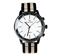 Unisex Fashion Watch Quartz Fabric Band Cool Casual Black White Brown