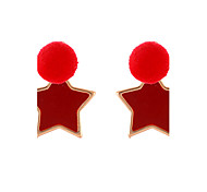 Lureme Women's Fashion Enameled Five Point Star with Pom Pom Earrings