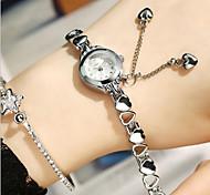 Women's Fashion Watch Quartz Alloy Band Silver White/Silver Black