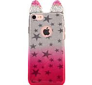 Para o iphone da maçã 7 7 mais 6s 6 mais a tampa do caso orelhas de gato flash que perfura a estrela flash pó gradient a caixa do telefone