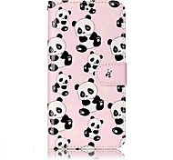 For LG G6 Case Cover Panda Pattern Shine Relief PU Material Card Stent Wallet Phone Case