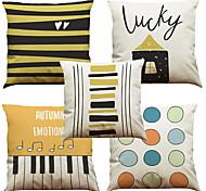 Set of 5 Geometric Keys Pattern  Linen Pillowcase Sofa Home Decor Cushion Cover (18*18inch)