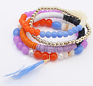 Euramerican Bracelet Beads Feathers Multicolor Layered Women's Valentine Jewelry Gift