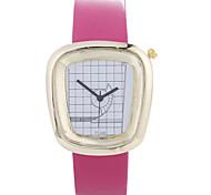 Women's U Strap Decorative Metal PU Small Belt Semi-Fan Gold Shell Quartz Watch