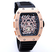 Men's Skeleton Watch Fashion Watch Quartz Leather Band Skull Black