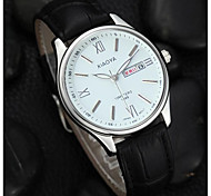 Men's Fashion Watch Quartz Leather Band Black Black/White Black