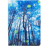 For Apple iPad Pro 9.7'' iPad Air 2 iPad Air iPad 4 3 2 Case Cover Blue Woods Pattern Painted Card Stent Wallet PU Skin Material Flat Protective Shell