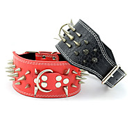 Collar Adjustable/Retractable Studded Rivet Solid Genuine Leather Black Red