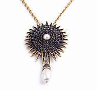 Women's Statement Necklaces Drop Chrome Personalized Luxury Dark Blue White Jewelry For Wedding Congratulations 1pc