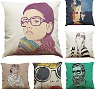 Set of 6 Creative People Pattern Linen Pillowcase Sofa Home Decor Cushion Cover  Throw Pillow Case (18*18inch)