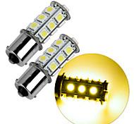 2Pcs 1156 18*5050 SMD LED Car Light Bulb Warm Light DC12V