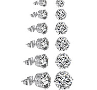 Stainless Steel Womens Stud Earrings Cubic Zirconia Inlaid3mm-8mm 6 Pairs