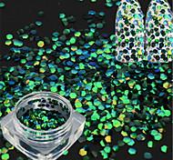 1 Bottle Fashion Nail Art Glitter Emerald-green Fish Scale Slice Decoration Laser Nail Art Mermaid Hexagon Paillette Glitter Thin Slice LP07