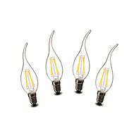 3W E14 Luci LED a candela CA35 4 COB 400 lm Bianco caldo Decorativo AC 220-240 V 4 pezzi