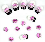 10 pcs Pink Crown Super Shiny Nail Decorations