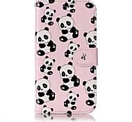 Для samsung galaxy a3 a5 (2017) case cover panda образец блеск рельеф pu материал карта стент кошелек телефон чехол