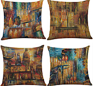 Set of 4 Architectural Abstract Oil Painting Pattern  Linen Pillowcase Sofa Home Decor Cushion Cover