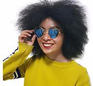 жен. Парики из искусственных волос Без шапочки-основы Короткий Кудрявые Черный Природные волосы Парик из натуральных волос Карнавальные