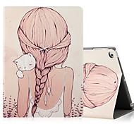 Para Apple ipad (2017) ipad air 2 ipad capa de caixa de ar com stand flip pattern caixa de corpo inteiro sexy senhora gato hard pu couro