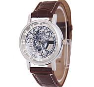 Men's Skeleton Watch Fashion Watch Quartz Leather Band Brown