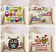 Set Of 4 Creative Owl Design Pattern Pillow Cover Classic Cotton/Linen Pillow Case Home Decor Cushion Cover