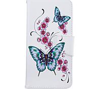 Para iphone 7plus 7 caixa de telefone material de couro PU pêssego padrão de borboleta caixa de telefone pintada 6s mais 6plus 6s 6 se 5s