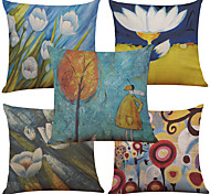 Set of 5 Oil Painting Flowers Pattern  Linen Pillowcase Sofa Home Decor Cushion Cover (18*18inch)