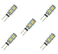 1.5W Двухштырьковые LED лампы 9 SMD 5050 85 lm Тёплый белый Белый DC 12 V 5 шт.