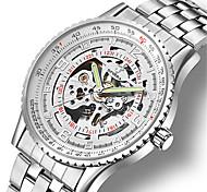 Муж. Часы со скелетом Механические часы Японский С автоподзаводом Фосфоресцирующий сплав Группа Серебристый металл Коричневый