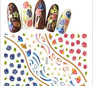 1pcs Nail Art 3D Sticker Folk-custom Style Beautiful Mixed Blue Flower& Red Flower Fan Pattern Design Creative Charming Nail Beauty Decoration F243