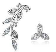 Stud Earrings  New Mismatching Asymmetry Earrings Fashion Silver Rhinestone Leaf Shape For Women Party  Daily Movie Gift Jewelry