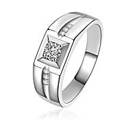 Муж. Классические кольца Цирконий Pоскошные ювелирные изделия Классика Bling Bling Металлик бижутерия Multi-Wear способы Стерлинговое