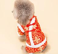 Собака Плащи Одежда для собак Новый год Вышивка Белый Черный