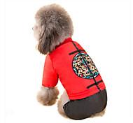 Собака Плащи Одежда для собак Новый год Вышивка Желтый Красный