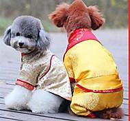 Собака Жилет Одежда для собак Новый год Цветочные/ботанический Бежевый Желтый