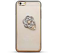 для крышки случая rhinestone держатель кольца держателя прозрачный случай крышки задней части цветка мягкий tpu для яблока iphone 6s плюс
