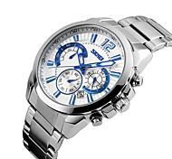 роскошный бренд мужчин платье хроно смотреть 6 рук полный стальной часы кварц военной армии часы водонепроницаемый спорт секундомер skmei