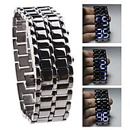 Masculino Relógio de Pulso Digital LED / Calendário Aço Inoxidável Banda Preta marca-