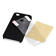 ultra sottile guscio in gomma opaca difficile per iphone 4 e 4S con protezione schermo (nero)